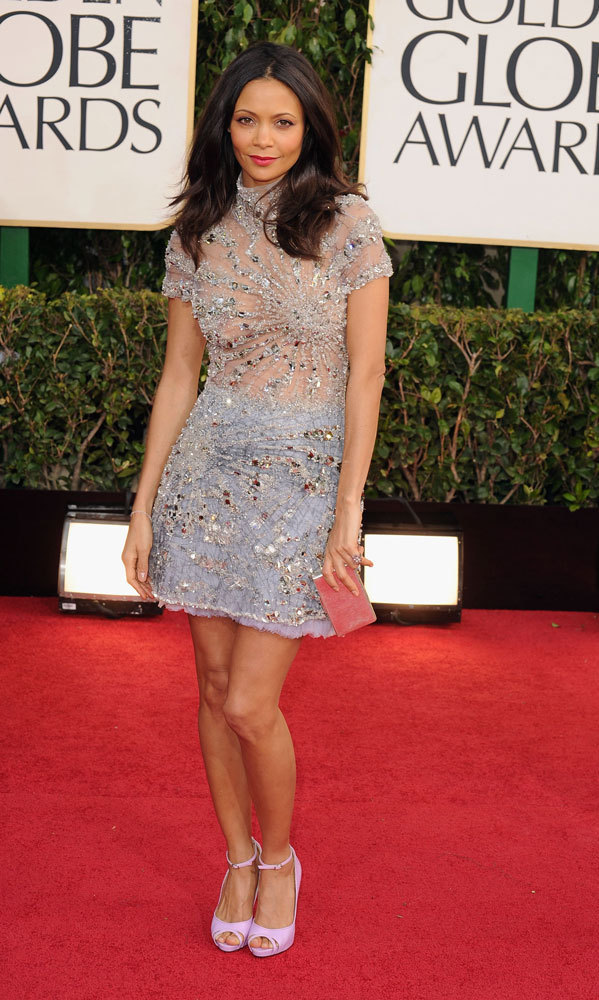 THANDIE NEWTON: The actress kicked off awards season as one of few starlets to go short and sweet – and we love the detail on this bedazzled, short-sleeved dress with sheer bodice (plus her bubblegum-pink shoes!)