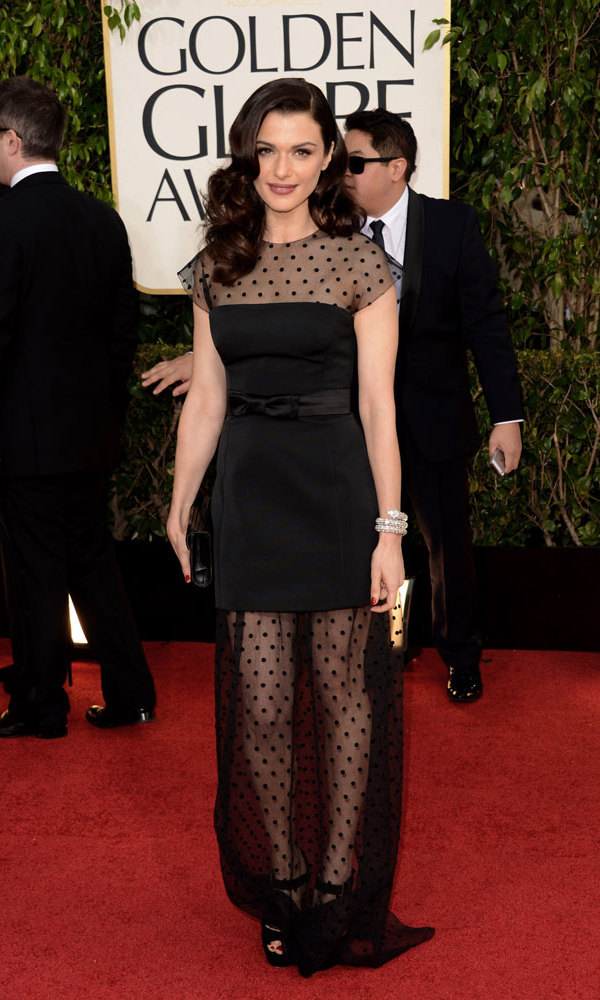 RACHEL WEISZ: Rachel made a stunning partner for her own personal Bond – husband Daniel Craig. The nominated actress chose a black Louis Vuitton number that was one part girly and sweet (bow belt, polka dots) and one part seductress (sheer up top and down below).