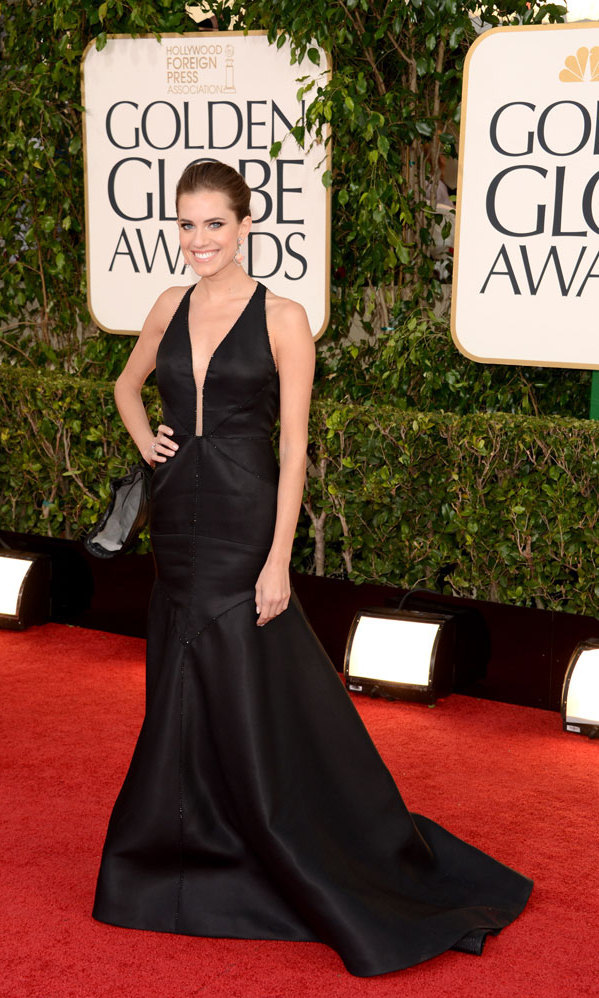 ALLISON WILLIAMS: As one of the stars of 'Girls,' the night's big comedy series winner (beating out 'Modern Family' and 'The Big Bang Theory'), a lot of eyes were on Allison – and her black J. Mendel gown satisfied on all fronts! The black satin with jeweled hemlines, plunging neckline and exposed back suited the slender actress, who said she had just 4 days to choose a dress!