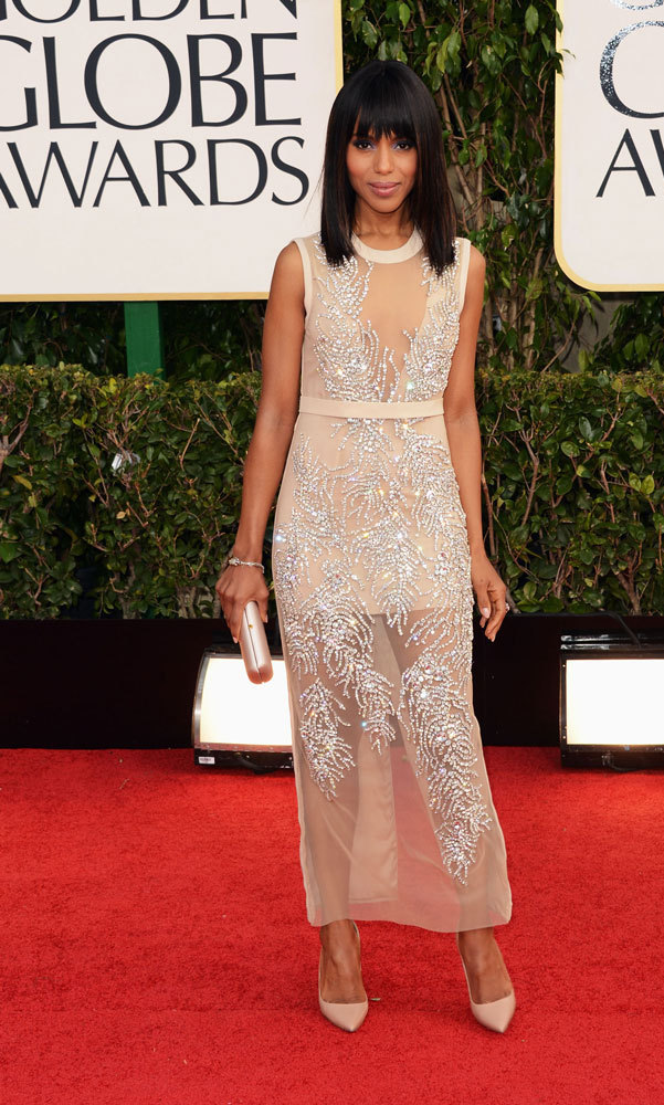 KERRY WASHINGTON: She'll be rocking maternity on the carpet in 2014, but there wasn't a bump in sight for the 'Scandal' star at the 2013 Golden Globes, where the beauty donned an intricately embroidered, sheer Miu Miu gown and sleek pumps.