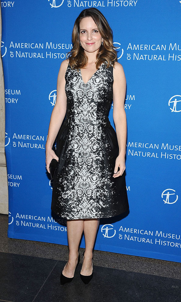 A night out at the American Museum of Natural History in 2013 called for this classic silver brocade frock by Carolina Herrera.