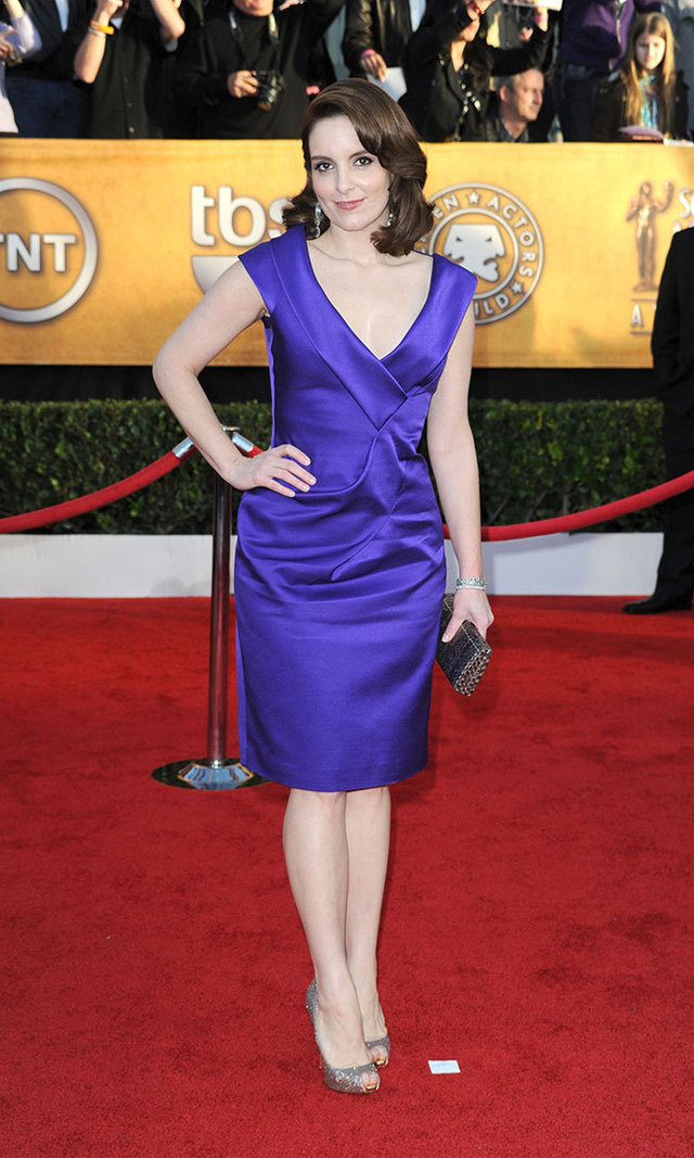 Tina kept things bright and simple at the 2010 Screen Actors Guild Awards, donning purple Salvatore Ferragamo and glittery Christian Louboutin peep-toe pumps.