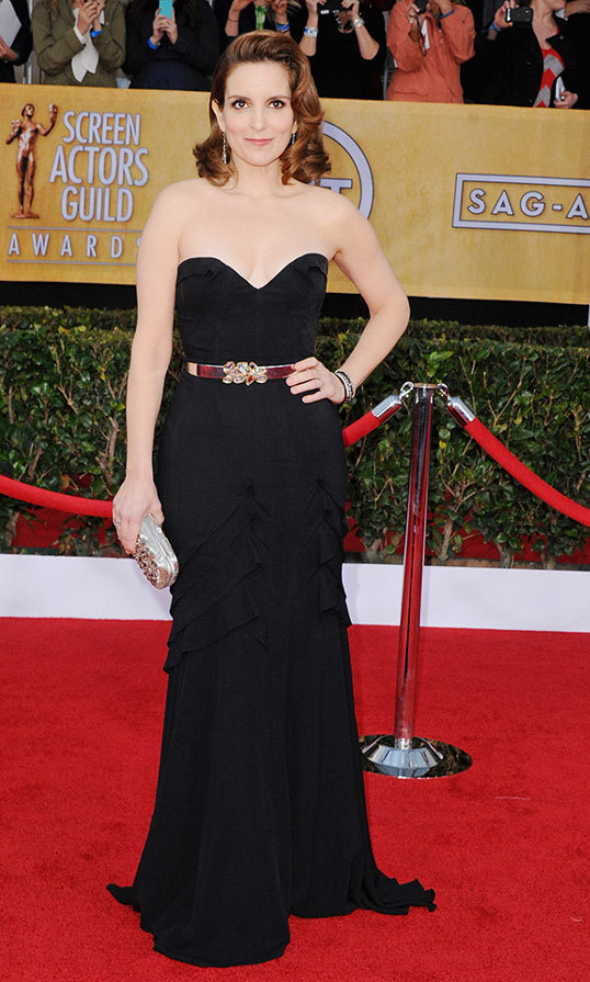 "Minimal jewels allowed this minimalist Oscar de la Renta gown with embellished belt to speak for itself at the Screen Actors Guild Awards in 2013, and it said, ""Made for Tina Fey."""