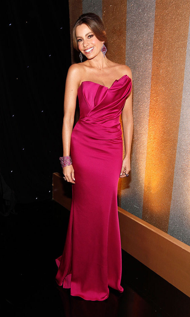 The mother of one kept things rosy at the 2012 Screen Actors Guild Awards in fuchsia satin Marchesa and coordinated statement jewelry by Lorraine Schwartz.