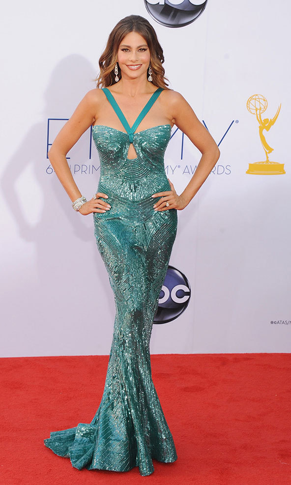 The Modern Family star stopped traffic on the 2013 Emmys red carpet in skin-tight aqua Zuhair Murad splashed with sequins and Neil Lane diamonds.