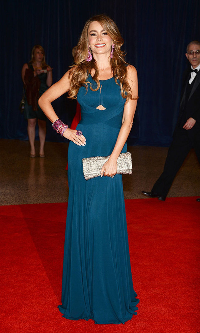 The 2013 White House Correspondents' Association Dinner got a splash of teal courtesy of Sofia in Herve L. Leroux. She complimented the look with pink jewelry by Lorraine Schwartz.