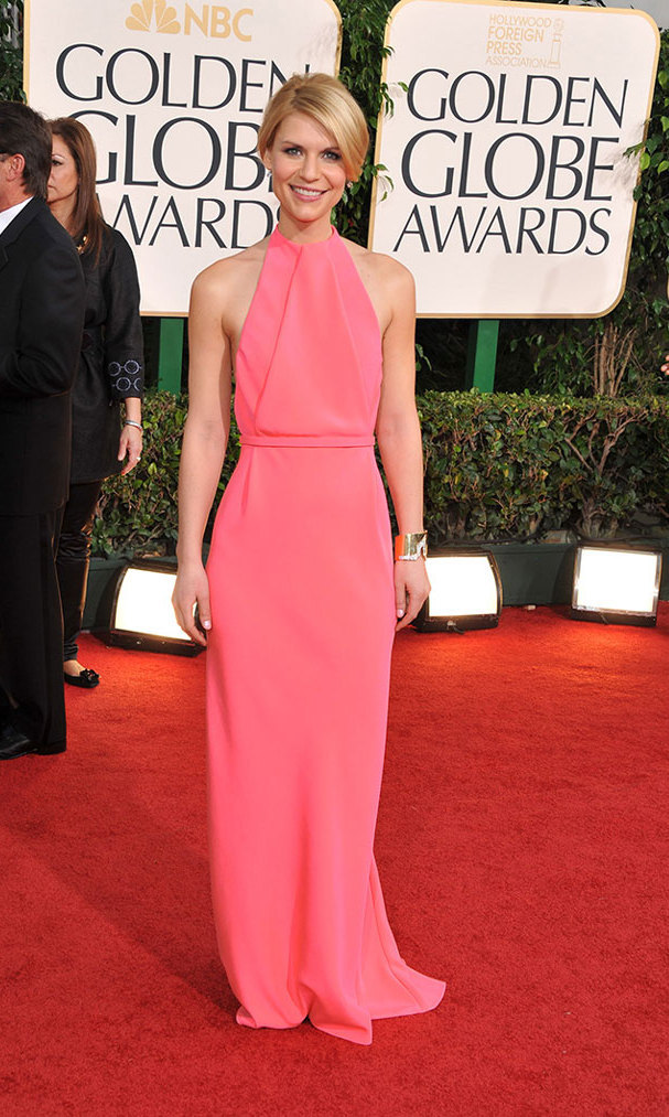 Claire took to the red carpet at the 2011 Golden Globes in an elegant sheath by Calvin Klein and a statement cuff, proving that pink and red certainly don't clash!