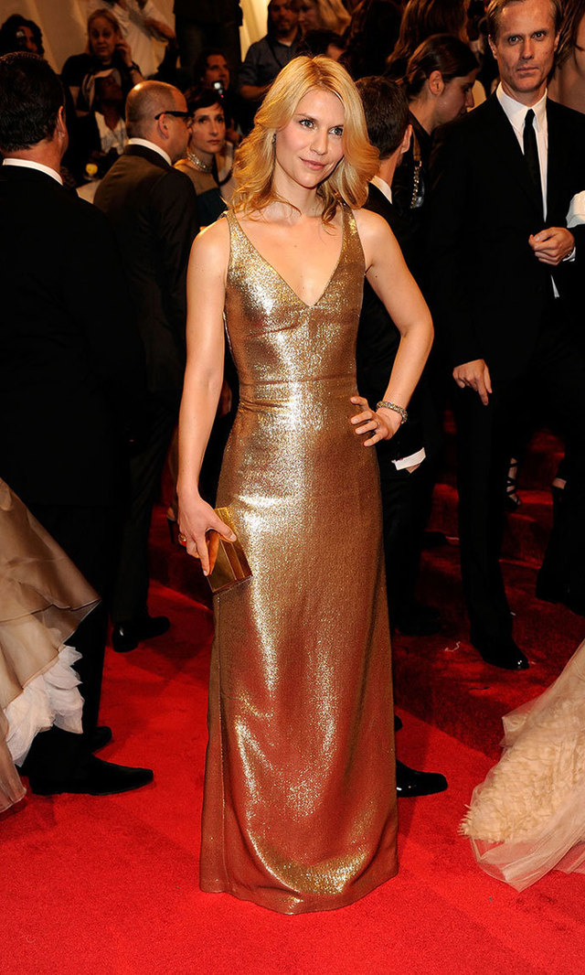 Looking as golden as the two Globes she's been awarded for portraying no-nonsense CIA agent Carrie Mathison on 'Homeland', Claire dazzled in Calvin Klein at the 2011 Met Gala.