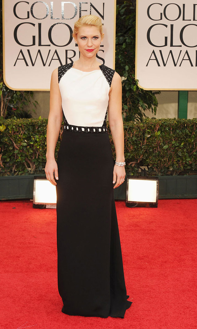 J. Mendel was Claire's designer of choice at the 2012 Golden Globes. The New York-native paired her backless, black-and-white gown with Bulgari jewels and a Tiffany & Co. clutch.