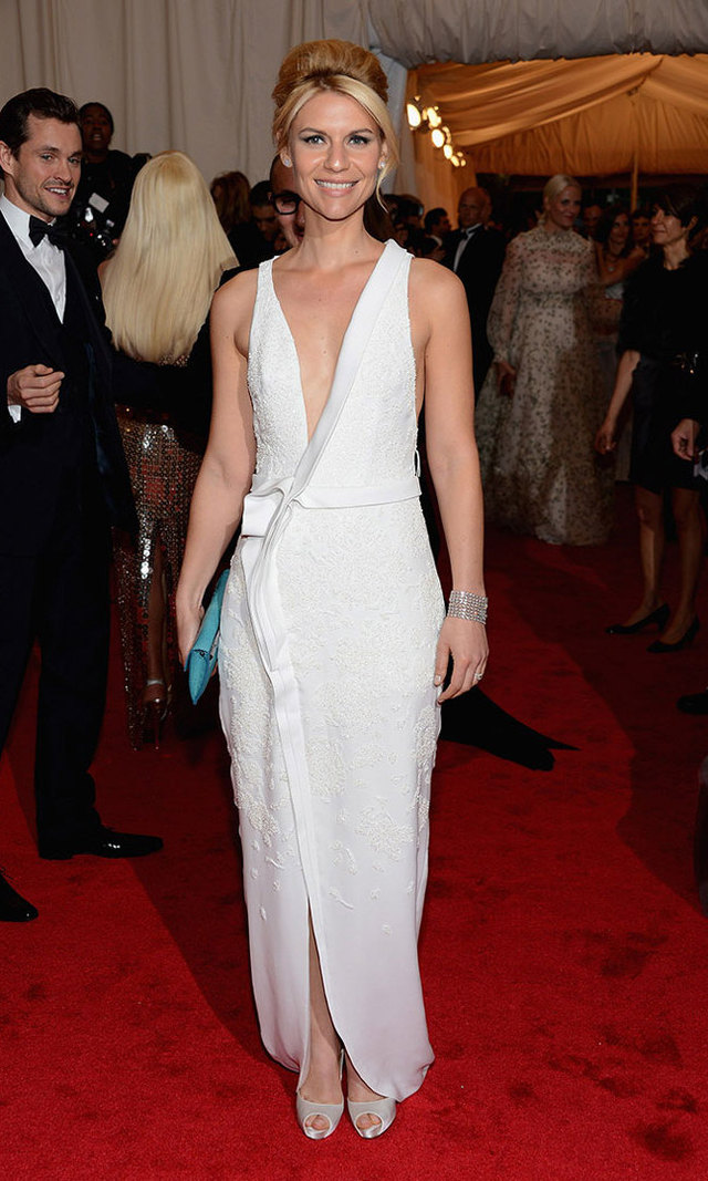 Hubby Hugh Dancy (the couple wed in 2009 after falling in love on the set of the film 'Evening') couldn't take his eyes off his wife – or the low-slung, white J. Mendel showstopper Claire chose for the red carpet at the 2012 Met Gala.