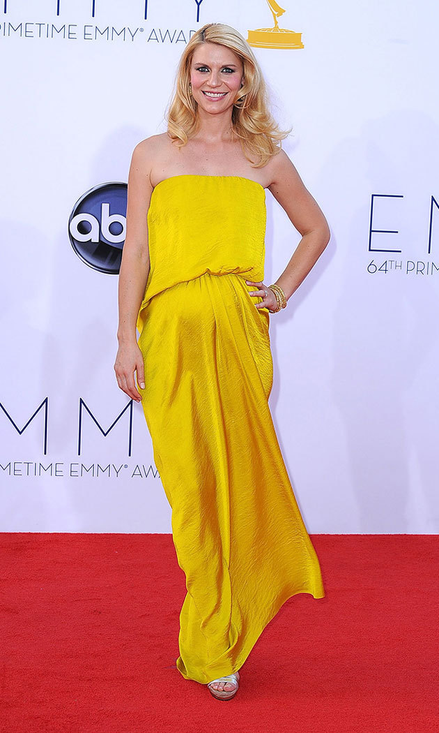 Like the ray of sunshine Claire welcomed three months later (son Cyrus was born December 17, 2012), the 'Homeland' actress stole the show at the Emmys in a canary creation by Lanvin.