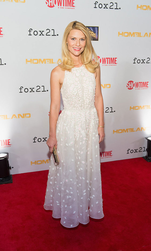 Claire celebrated the third-season premiere of her hit show, 'Homeland', in a sleeveless organza gown featuring dainty embroidery from Valentino's 2014 Resort Collection.