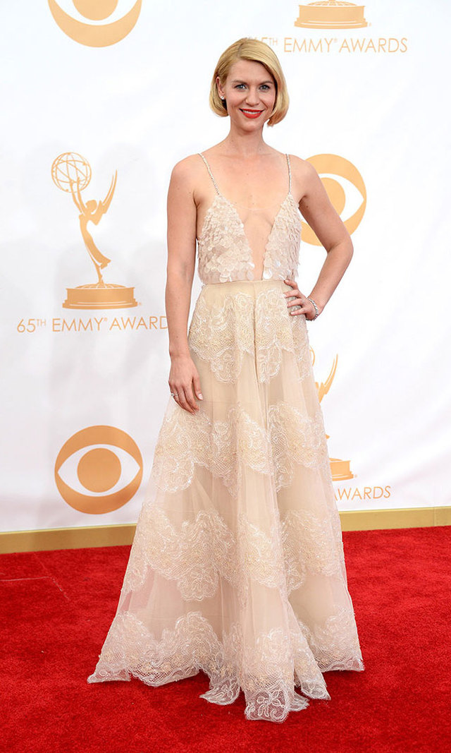 The romance of Old Hollywood was alive at the 2013 Emmys thanks to Claire's delicate nude Armani Prive creation. With its plunging neckline and barely there back, Claire achieved the perfect blend of sex appeal and class.