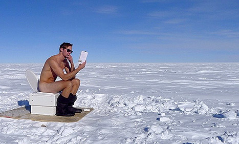 "Alex Skarsgard stripped down to nothing but a pair of boots and sunnies -- in -30 degree weather! -- for this hilarious snap following his trek to the South Pole. Alex's team guide for his Walking With the Wounded challenge, Inge Solheim, uploaded the pic to Instagram along with the caption: ""What are you reading, Alex? The script for season 7 of #truebloodHBO?"""