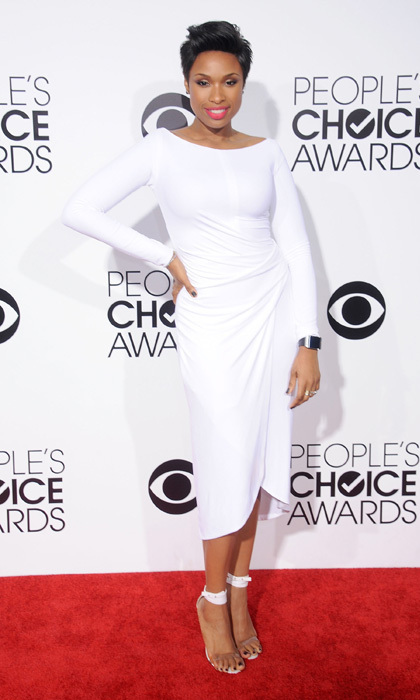 Jennifer Hudson in a Kaufman Fanco dress and Manolo Blahnik heels. Photo: © Getty Images