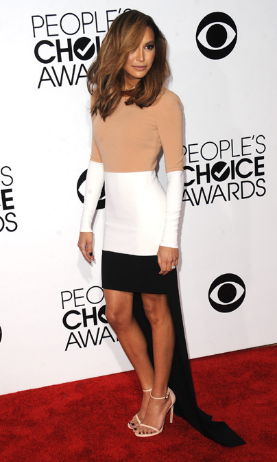 'Glee' star Naya Rivera in a Michael Kors dress and Stuart Weitzman shoes. Photo: © Getty Images