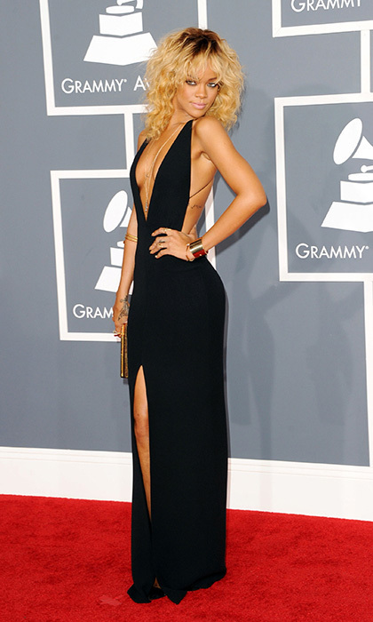 Rihanna brought the heat in this tantalizing Giorgi Armani creation during the 2012 Grammy Awards. The silhouette hugged her curves just right, and a plunging neckline, high slit and open back exuded her signature sex appeal.