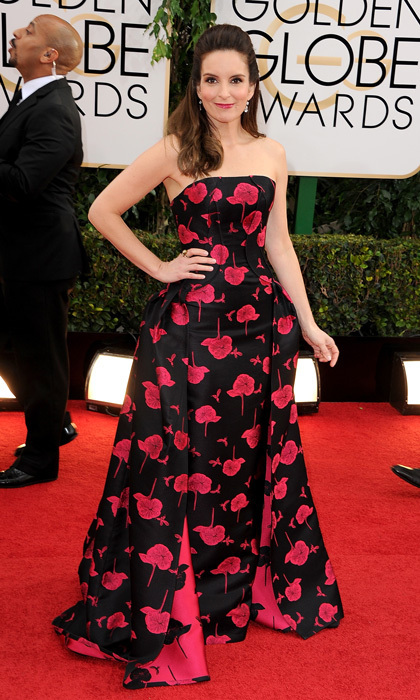 Tina was in a floral state of mind on the 2014 Golden Globes red carpet, where the comedienne prepared for another side-splitting year as co-host of the awards show.