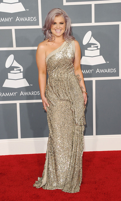 Kelly Osbourne looked every bit the fashion correspondent with her signature lavender locks and a bedazzled one-shoulder gold gown by Tony Ward.