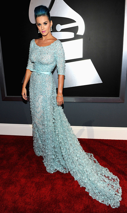 Another case of coordinated locks, performer Katy Perry paired her ice-blue Elie Saab gown with blue hair in a teased updo, plus $2 million worth of baubles.