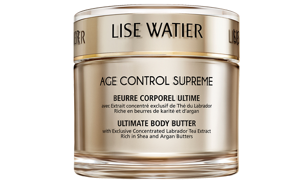 To follow, use a moisturizer with a high percentage of hydrating ingredients, such as shea or cocoa butter. Lise Watier Age Control Supreme Ultimate Body Butter ($70, lisewatier.com)