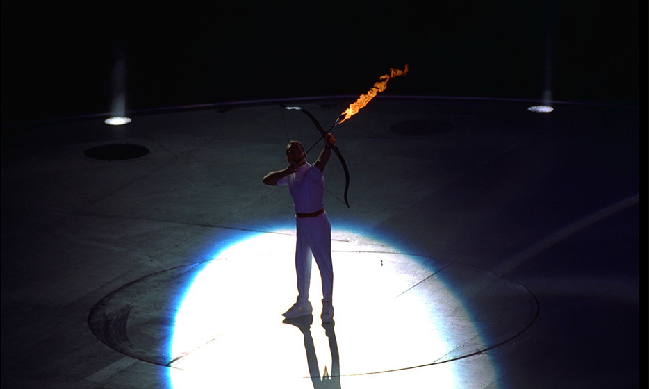 An archer was poised to light the Olympic flame by firing a flaming arrow during the 1992 opening ceremony in Barcelona, Spain.