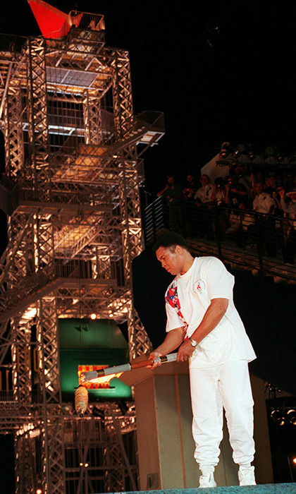 Former heavyweight boxing champion and 1960 Olympic gold medalist Mohammed Ali lit the 1996 flame at the stadium in Atlanta during the opening ceremony of the Centennial Olympic Games.