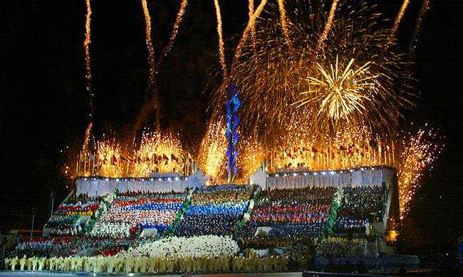 Fireworks blazed and left a wave of excitement in their wake during the opening ceremonies of the 2002 Winter Olympics at the Rice Eccles Stadium in Salt Lake City.