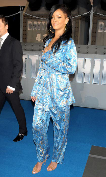 For the 2012 Tokyo premiere of 'Battleship,' Rihanna slipped into Kimono-inspired, haute-couture sleepwear by Emilio Pucci. She accessorized the funky look with gold hoops and sky-high sandals.