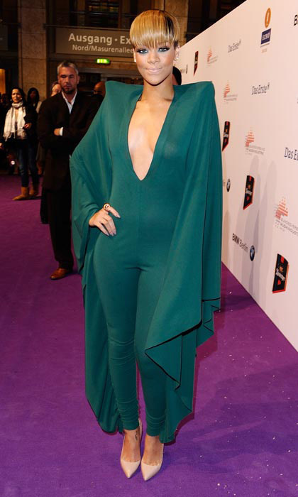 For the 2010 Echo Awards, Rihanna slipped into a head-to-toe jade jumpsuit with a seriously plunging neckline.