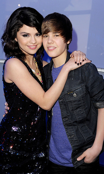 Before the romance: Selena Gomez and Justin Bieber attended Dick Clark's New Year's Rockin' Eve With Ryan Seacrest in 2010. The pair would deny their romance for the months to come before finally going public with their love at a 'Vanity Fair' party in 2011. Photo: © Getty