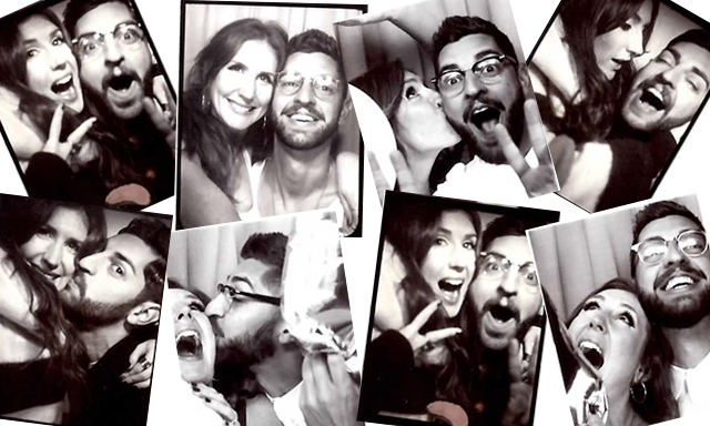 The fun-loving couple is no stranger to photo booths! Wonder if they'll have one at their wedding...