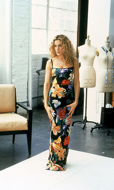 "In the episode ""The Real Me,"" Carrie was originally supposed to wear this floral Dolce & Gabbana number – before it was swapped out to supermodel Heidi Klum. Instead, she sports a pair of bejewelled panties before taking a spill on the runway."