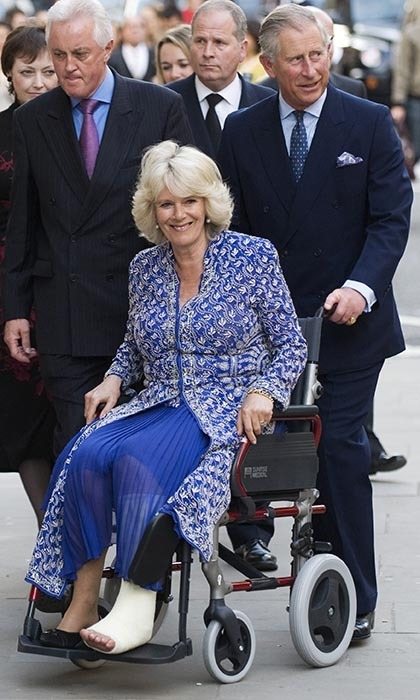 2010: Charles took on the role of caretaker after his wife suffered a broken leg while vacationing in Scotland. The injury did not deter the outgoing pair from enjoying their usual activities, however, as the Prince escorted Camilla in a wheelchair while attending the Premiere of 'Aida.'