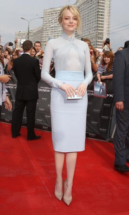 Inspired by the Russian setting, Emma donned an icy blue, long-sleeved Emilio Pucci dress for the Moscow premiere of 'Amazing Spider-Man.' The look was positively ethereal on the porcelain-skinned star, who added a touch of glamour with a delicate, gold laurel leaf Jennifer Behr bandeau woven into her unfussy updo.