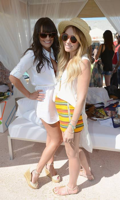 Lauren Conrad and Lea Michele perfect poolside-chic as they attended the Lacoste party at the festival in 2012.