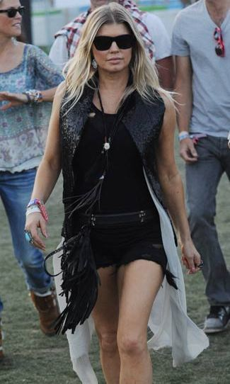 In 2012, the Black Eyed Peas' Fergie rocked the biker look in a gorgeous black and fringed ensemble.