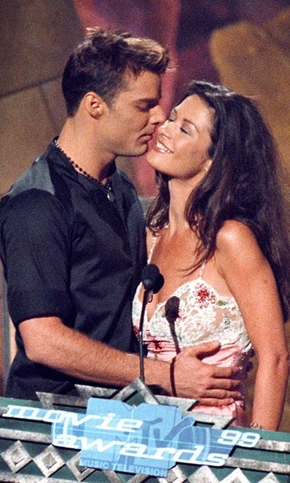 Ricky Martin and Catherine Zeta-Jones worked the audience before presenting the award for Best Kiss in 1999 (enjoying a small smooch of their own!). The award that year went to Gwyneth Paltrow and Joseph Fiennes for 'Shakespeare in Love,' which also won Best Picture at the Oscars.