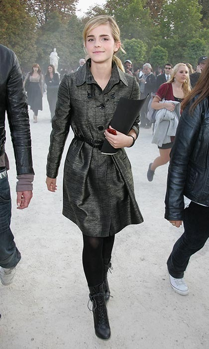 In 2008, the newly-blond star attended Christian Dior's fashion show in Paris looking très chic in a belted green coat. (Photo by Tony Barson/WireImage).