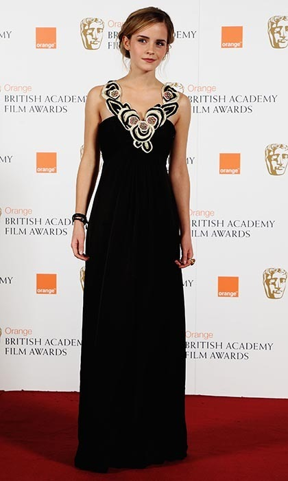 Emma wowed in a full-length Temperley gown with floral detailing at the Orange British Academy Film Awards in 2009. (Photo by Gareth Cattermole/Getty Images for Orange)