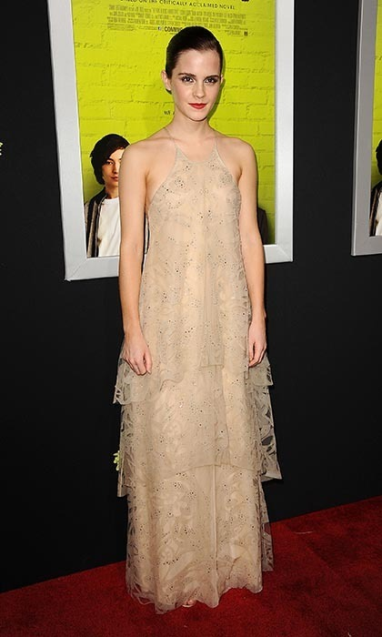The actress donned a nude Armani gown for the 2012 TIFF premiere of 'The Perks of Being a Wallflower' in Toronto. (Photo by Jason LaVeris/FilmMagic)