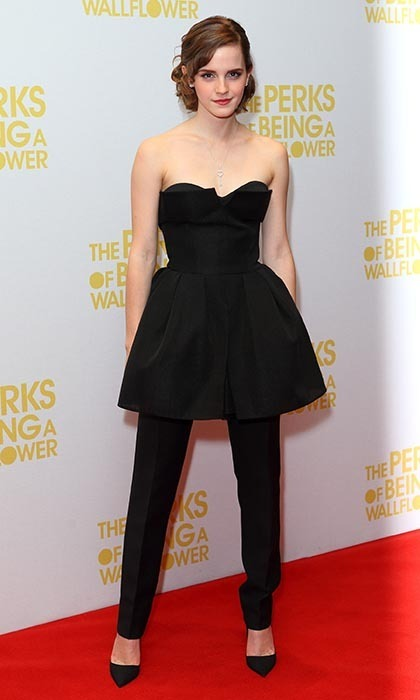 While on the press circuit for 'The Perks of Being a Wallflower,' Emma dared to wear black Dior pants under her Dior cocktail dress. It was a bold choice, but the star pulled it off flawlessly. (Photo by Mike Marsland/WireImage)