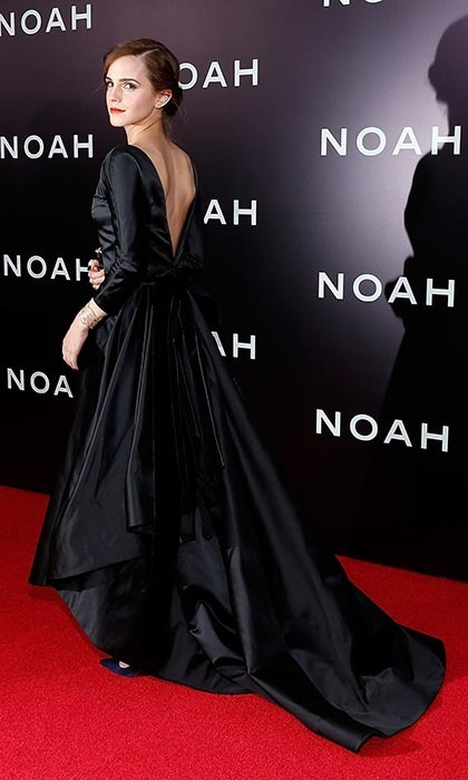 The 23-year-old was the epitome of elegance at the New York Premiere of 'Noah,' floating onto the red carpet in a dark satin Oscar de la Renta ball gown.(Photo by Jemal Countess/Getty Images)