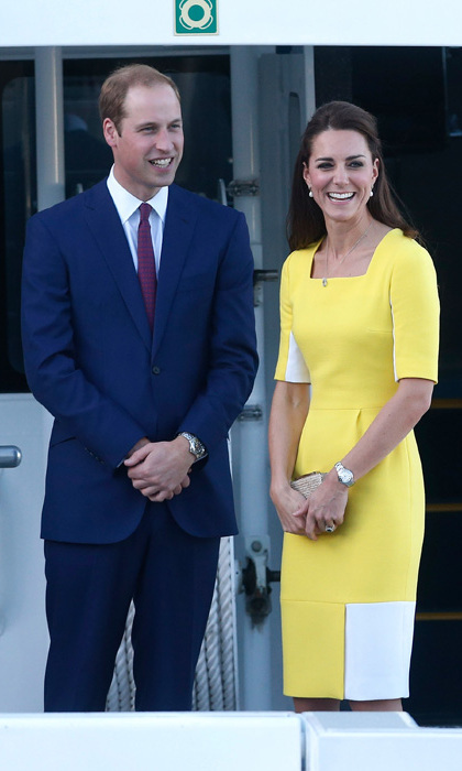 "Fashions fans were quick to praise the Duchess of Cambridge for her fashion-forward look, although husband Prince William apparently wasn't quite so keen.  ""William said I look like a banana!"" Kate told a lady in the crowd."