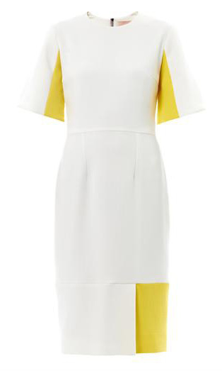 The dress is thought to be a custom design on the Ryedale dress – it is available to buy from Matches and Harvey Nichols but only in the colour inverse - white with yellow panels. It retails for approximately $1,754 CAN.