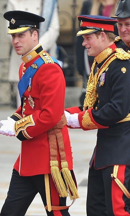 Decked out in their army uniforms, William and best man Prince Harry arrived together at Westminster Abbey.