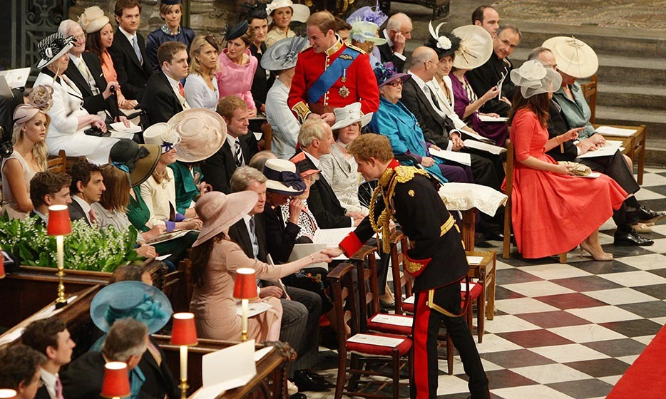 The royal brothers greeted friends and family inside the Abbey as they waited for Kate to arrive.