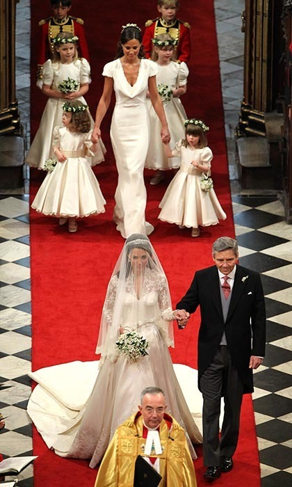 Kate's proud father, Michael Middleton, walked her up the aisle inside Westminster Abbey.