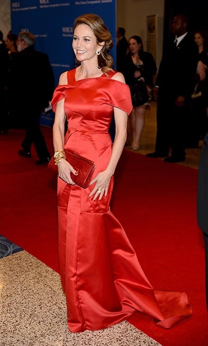 Diane Lane in a fire engine-red satin gown