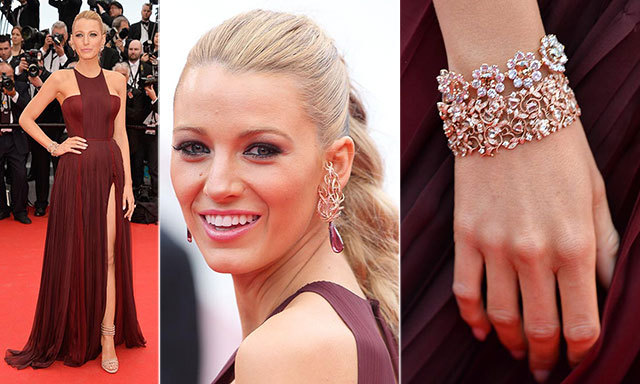 For her grand entrance on the French Riviera, Blake Lively wore 25-carat ruby drop earrings by Lorraine Schwartz, a diamond flower bracelet and diamond vine bracelet with her Gucci gown.